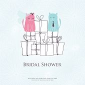 Bridal shower invitation card with two cute cats sitting on the present boxes poster