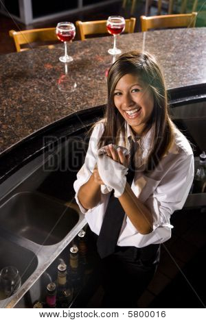 Hispanic female bartender