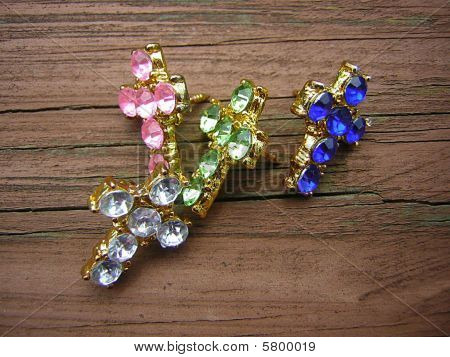 Jeweled Cross Pins Gold
