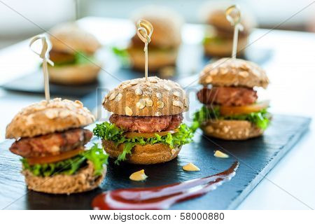 Multiple Min Beef Hamburgers.