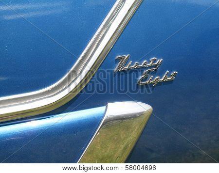 Blue Oldsmobile Ninety Eight Side Close Up