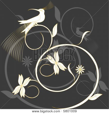 paradise bird on branch in garden with flowers poster