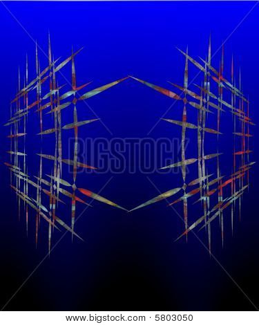 Graphic And Pointless Abstract Composition On Dark Blue Gradient.