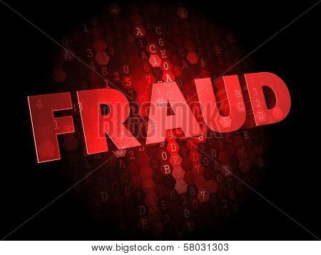 Fraud - Red Color Text on Dark Digital Background. poster