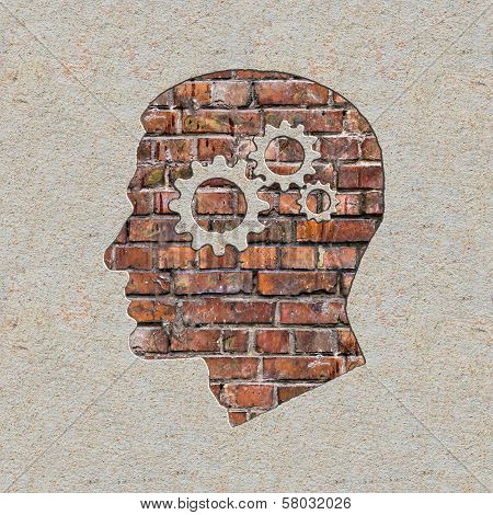 Psychological Concept on the Brick Wall.