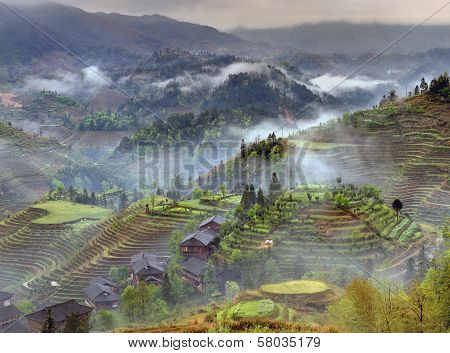 Spring Landscape With Village And Rice Terraces, Mountain Rural China.