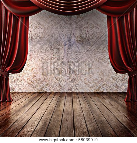 Wood stage background with theatrical curtains