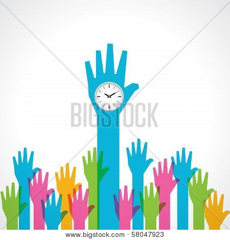 Colorful helping hand with clock