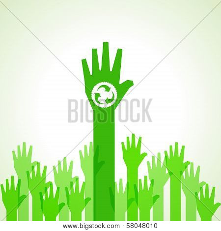 Green helping hand with recycle icon