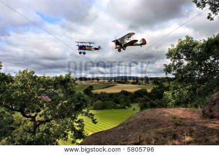 Two biplanes  in flight