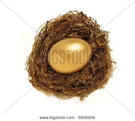 Golden Nest Egg Representing Retirement Savings