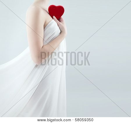 Gorgeous Woman Holding Red Heart