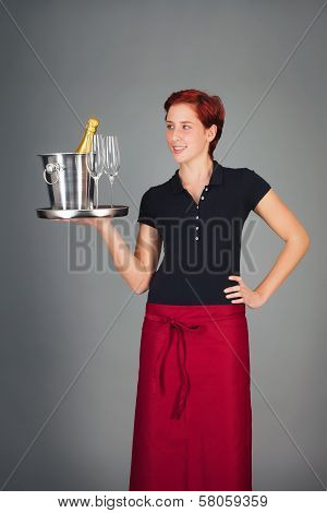 Waitress Serving Champagne
