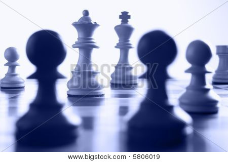 Chess White Queen On The Attack