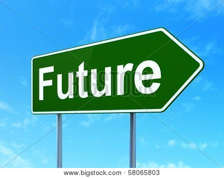 Timeline concept: Future on road sign background