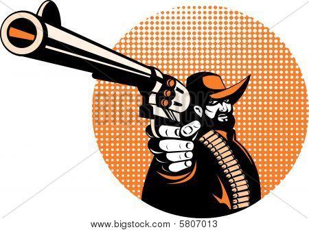 Cowboy aiming his gun at you