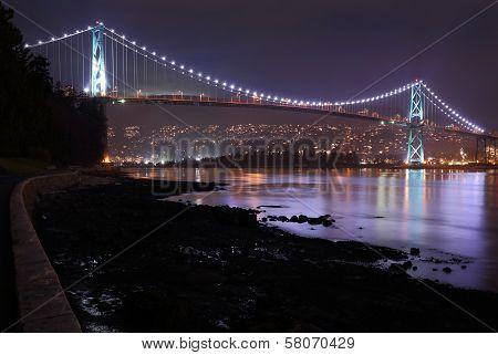 Lions Gate Bridge, Burrard Inlet, Night