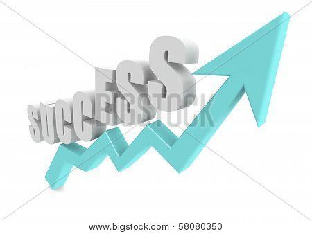 Success Word on Blue Growth Arrow