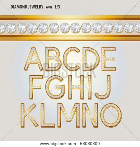 Classic Diamond Jewelry Alphabet Vector