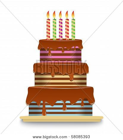 three-tiered chocolate cake with candles