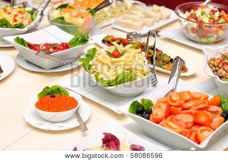 Colorful salads on the table