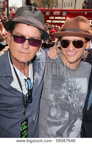 Charlie Sheen, Clifton Collins Jr. at Slash Honored with a Star on the Hollywood Walk of Fame, Hollywood, CA 07-10-12