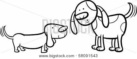 Dogs Wagging Tails Coloring Page