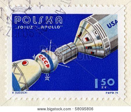 Vintage Polish Stamp Commemorating Soyuz