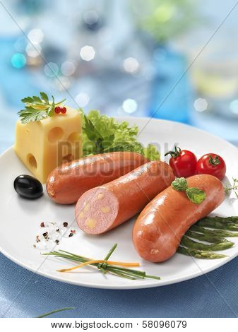 Boiled sausage with cheese