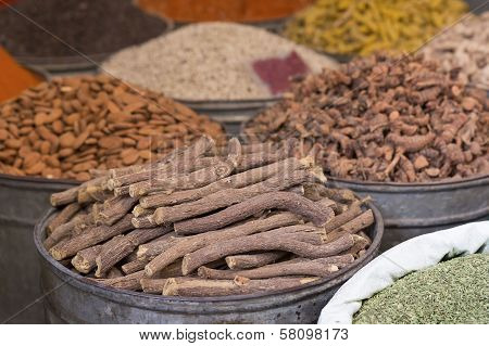 Liquorice for sale on a market in Morocco