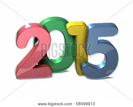 3D Year 2015 On White Background