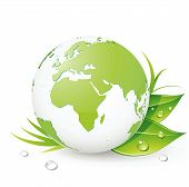 Vector illustration of Green Earth planet (showing Europe and Africa) with leaves and water drops poster