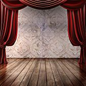 Wood stage background with theatrical curtains ,advertisement, music,comedy or performing arts concept with room for text or copy space advertisement. Part of a stage concept series poster