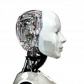 A robot woman head with internal technology ,side view isolated on white background. poster