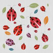 Abstract Retro Textile Background with Ladybirds and Leaves poster