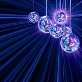 Colorful funky background with mirrored glitter disco balls for party poster