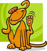 Cartoon Illustration of Funny Dog Scratching his Ear poster