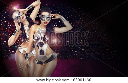 Disco Club. Two Women In Trendy Stagy Costumes Dancing Over Abstract Background