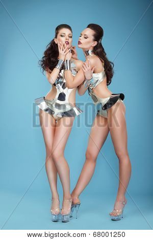 Clubbing. Estrade. Expressive Styled Women Showgirls In Theatrical Costumes