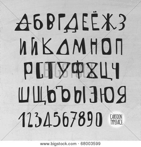Hand Drawn Vector Russian Alphabet