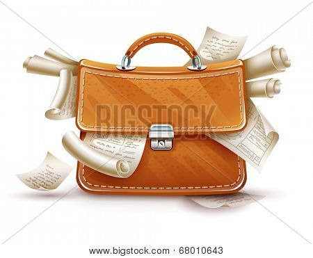 Leather briefcase of busy businessman full of papers and documents. Eps10 vector illustration. Isolated on white background