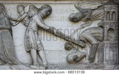 PARMA, ITALY - MAY 01, 2014: Beheading of St. John the Baptist on the baptistery from Benedetto Antelami. Baptistery in Parma is considered to be among the most important Medieval monuments in Europe.