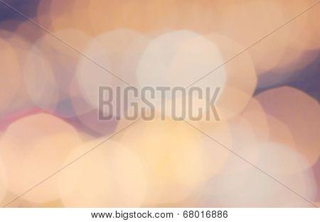 Festive Blured Street Lighhts Background. Elegant Abstract Background With Bokeh Defocused Golden Li