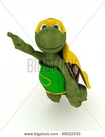 3D render of a tortoise superhero