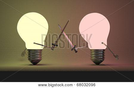 Reddish Glowing Light Bulb And Yellowish One Fighting Duel