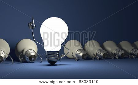 Glowing light bulb character in moment of insight standing among many switched off lying ones on blue textured background poster
