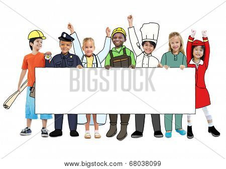 Children Wearing Future Job Uniforms poster