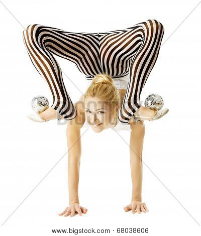 Circus Gymnast Woman Flexible Body Standing On Arms Upside Down, Balancing Balls On Feet. Isolated W