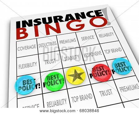 Insurance Bingo words game card pieces Best Policy coverage, co-pay, deductible