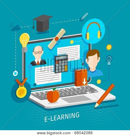 Education school university e-learning flat concept with laptop and graduation icons vector illustration. poster